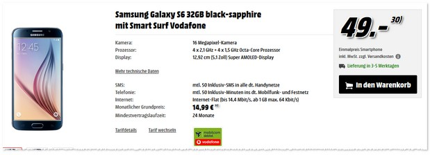 Vodafone Smart Surf + Samsung Galaxy S6