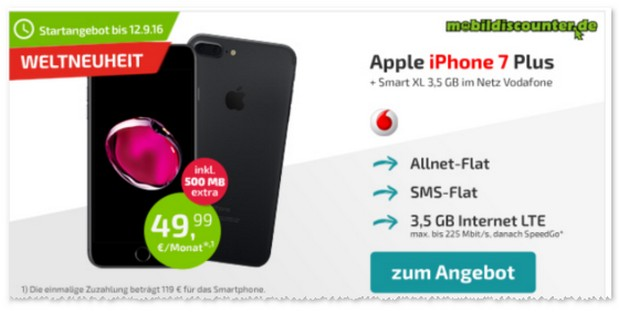 Vodafone Smart XL als iPhone 7 Plus Vertrag