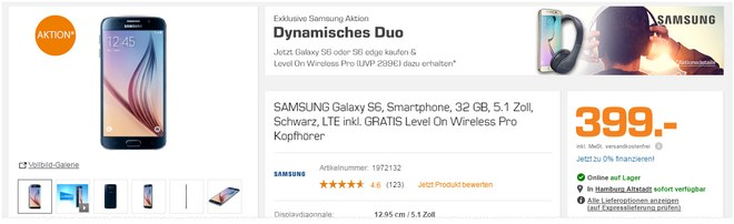 Samsung Galaxy S6 + Level On Wireless Pro Kopfhörer für 399 €