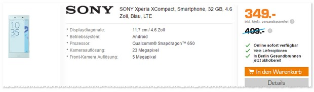 Sony Xperia X compact ohne Vertrag als Saturn Angebot
