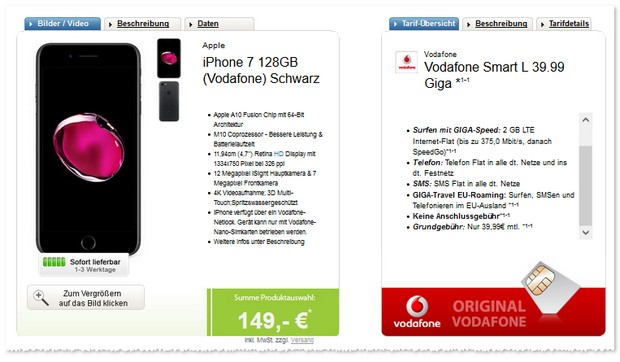 iPhone 7 (128 GB) lieferbar mit Vodafone Smart L (2GB) Giga