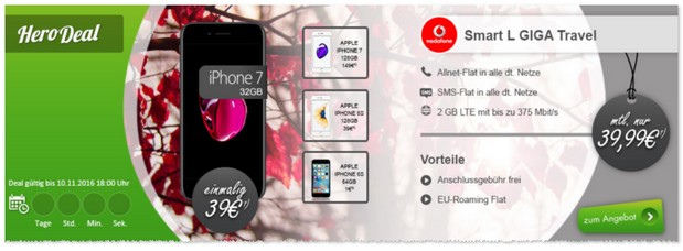 Vodafone Smart L GIGA Travel (2GB) und iPhone 7