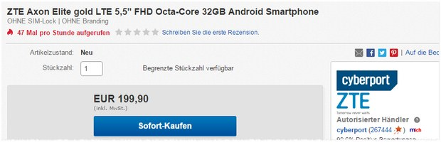 ZTE Axon Elite in Gold als Cyberport-Deal am 23.11.2016 unter 200 €
