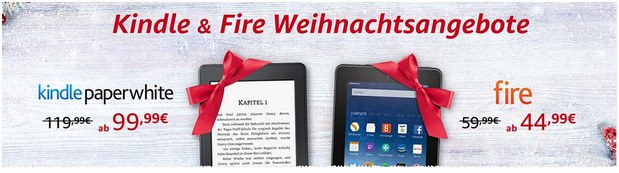 Amazon: Kindle & Fire Weihnachtsangebote ab 44,99 €