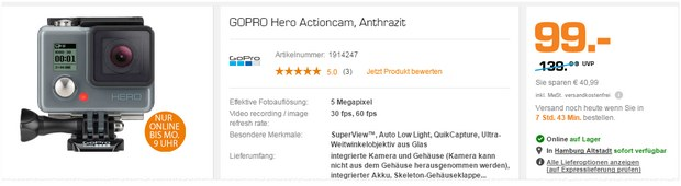GoPro Hero Actioncam für 99 € am Saturn Super Sunday