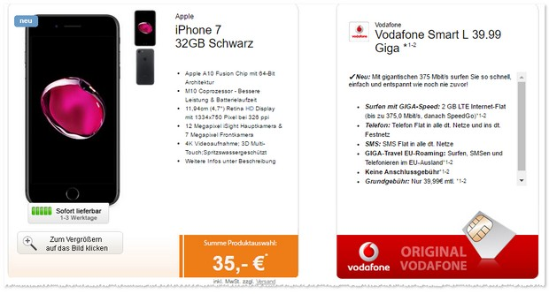 iPhone 7 (32GB) im Vodafone Smart L GIGA Travel Tarif