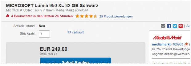 Lumia 950 XL ohne Vertrag als Media Markt Red Friday Deal in der eBay Cyber Week 249 € - ab 18 Uhr