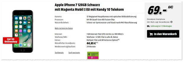 Magenta Mobil S (md) mit iPhone 7