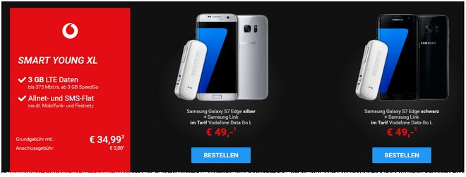 sparhandy Red Friday Deal mit Vodafone Young XL und Samsung Galaxy S7 edge