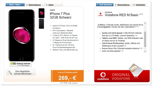 Vodafone Red M als iPhone 7 Plus Vertrag