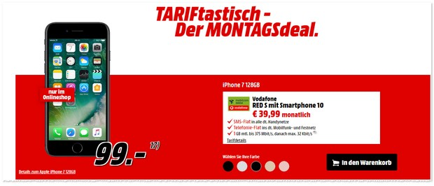 Vodafone Red S (md) mit iPhone 7 (128 GB) als TARIFtastisch Deal