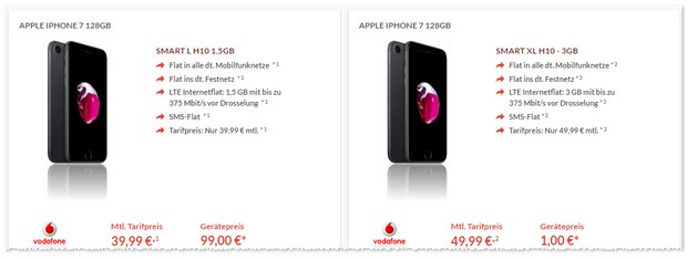 Vodafone Smart XL + iPhone 7 128 GB