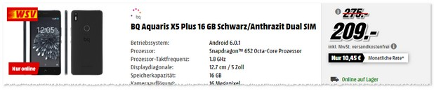 BQ Aquaris X5 Plus mit 16 GB bei Media Markt