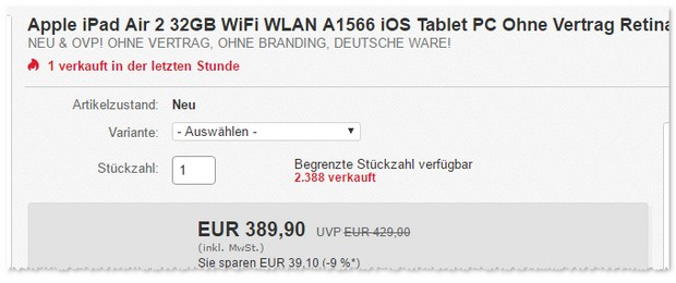 Apple iPad Air 2 mit Retina Display bei den eBay WOW Angeboten