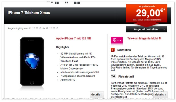 Magenta Mobil M + iPhone 7 (128GB) als Xmas-Deal