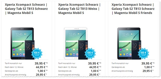 Magenta Mobil S + Sony Xperia X Compact + Samsung Tab S2
