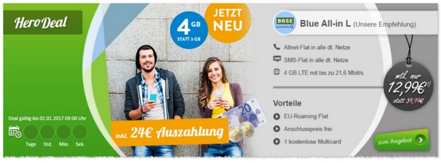 o2 Blue All-in L 4GB mit 24 Euro Auszahlung / Cashback