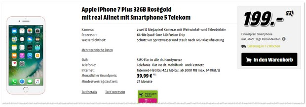 Telekom Real Allnet + iPhone 7 Plus