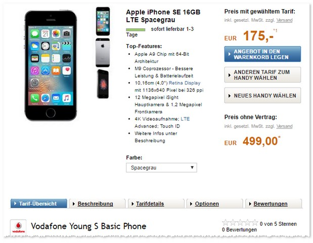 Vodafone Young S & iPhone SE