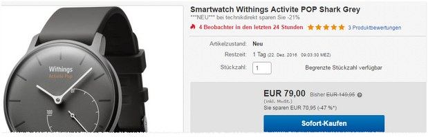 Withings Activité Pop in Grau für 79 € als Tagesangebot