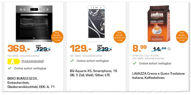 BQ Aquaris X5 ohne Vertrag beim Saturn Late Night Shopping
