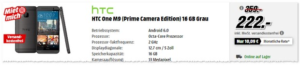 HTC One M9 in der Prime Camera Edition bei Media Markt - 222 €