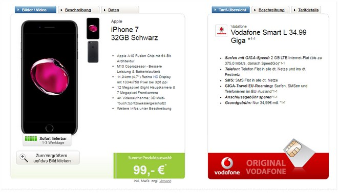 iPhone 7 + Vodafone Smart L Giga (2GB) für 34,99 €