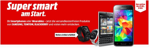 Media Markt Smartphone-Aktion bis 27.2.2017, 9 Uhr