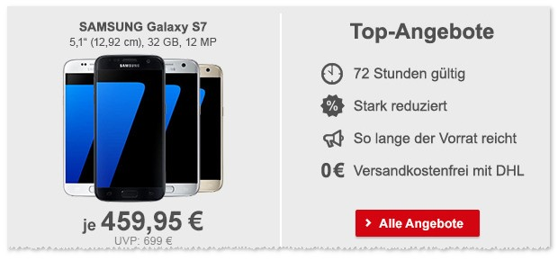 Samsung Galaxy S7 ohne Vertrag bei Allyouneed ab 13.1.2017