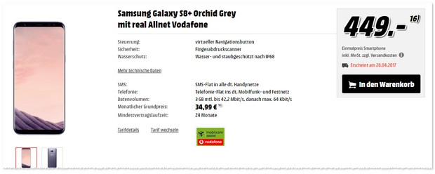 Vodafone Real Allnet mit Samsung Galaxy S8 Plus