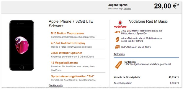 Vodafone Red M (3GB) + iPhone 7 mit Startguthaben