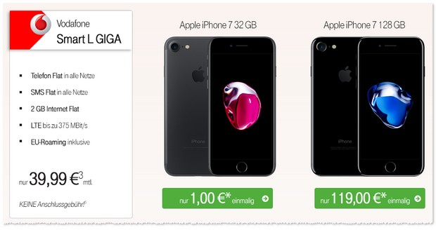 Vodafone Smart L + iPhone 7 ab 1 Euro Zuzahlung bei Talkthisway