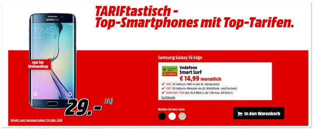 Vodafone Smart Surf mit Samsung Galaxy S6 edge