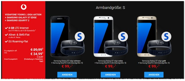 Vodafone Young L + Samsung Galaxy S7 edge + Gear Fit 2
