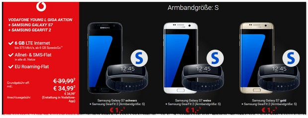 Vodafone Young L + Samsung Galaxy S7 + Gear Fit 2