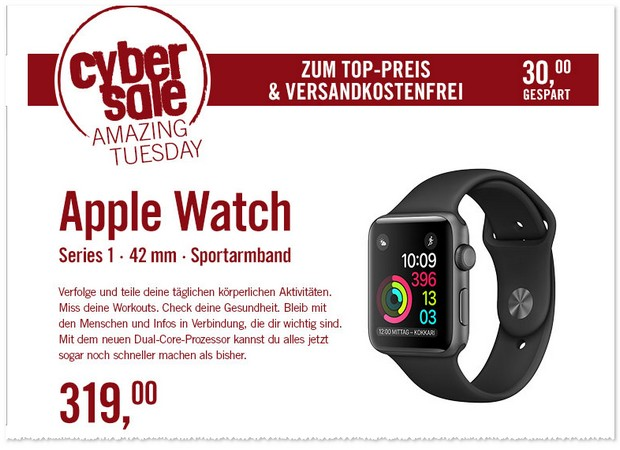 Apple Watch Series 1 (42mm) am 7.2.2017 im Angebot bei Cyberport