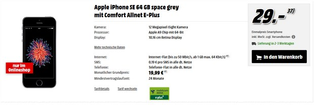 Comfort Allnet E-Plus (md) + iPhone SE (64GB) bei Media Markt
