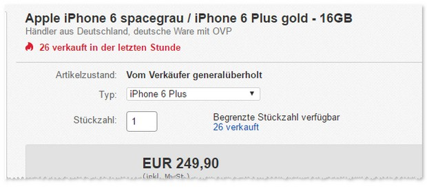 iPhone 6 Plus (16GB, Gold) im Angebot