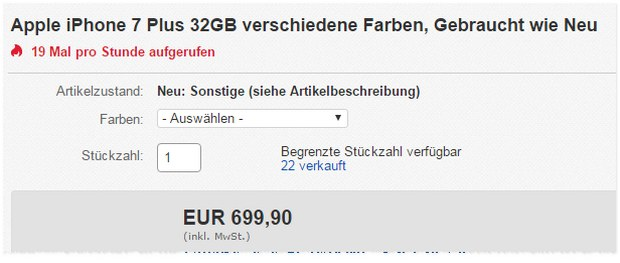 iPhone 7 Plus als B-Ware für 699,90 €