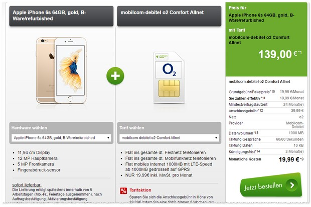 o2 Comfort Allnet (md) + iPhone 6s (B-Ware)