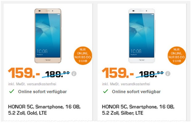 Saturn Late Night Deals am 22.2.2017, u.a. mit dem Honor 5C für 159 €