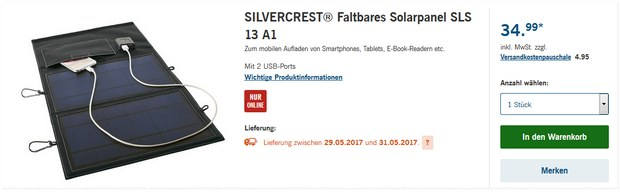 Silvercrest Solar-Panel als LIDL-Angebot ab 29.5.2017
