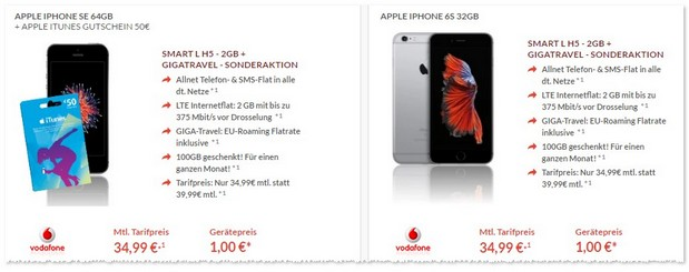 Vodafone Smart L + iPhone SE (64GB) mit 50 € iTunes Guthaben