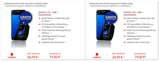 Vodafone Smart L (2GB) + Samsung Galaxy S7 edge + Gear Fit 2