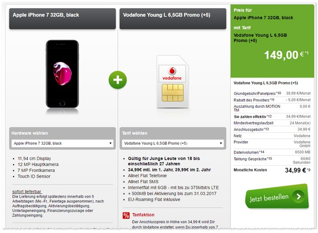 Vodafone Young L + iPhone 7+ 500 MB extra