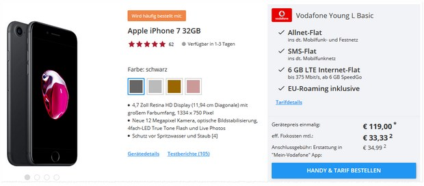 Vodafone Young L (6GB) + iPhone 7 (32GB) ab mtl. 34,99 € + 119 € Zuzahlung inkl. 100 € Startguthaben