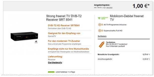 DVB-T2 Receiver mit Freenet TV