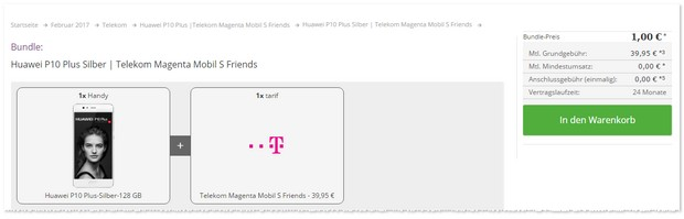 Huawei P10 Plus mit Magenta Mobil S Friends bei 1 Euro Zuzahlung