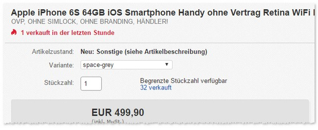 iPhone 6S mit 64GB als B-Ware in Space-Grey