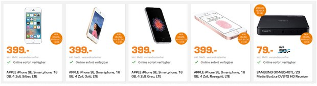 Saturn Late Night Shopping Deals am 29.3.2017 mit dem iPhone SE (16GB) für 399 € - leider diesmal kein Highlight
